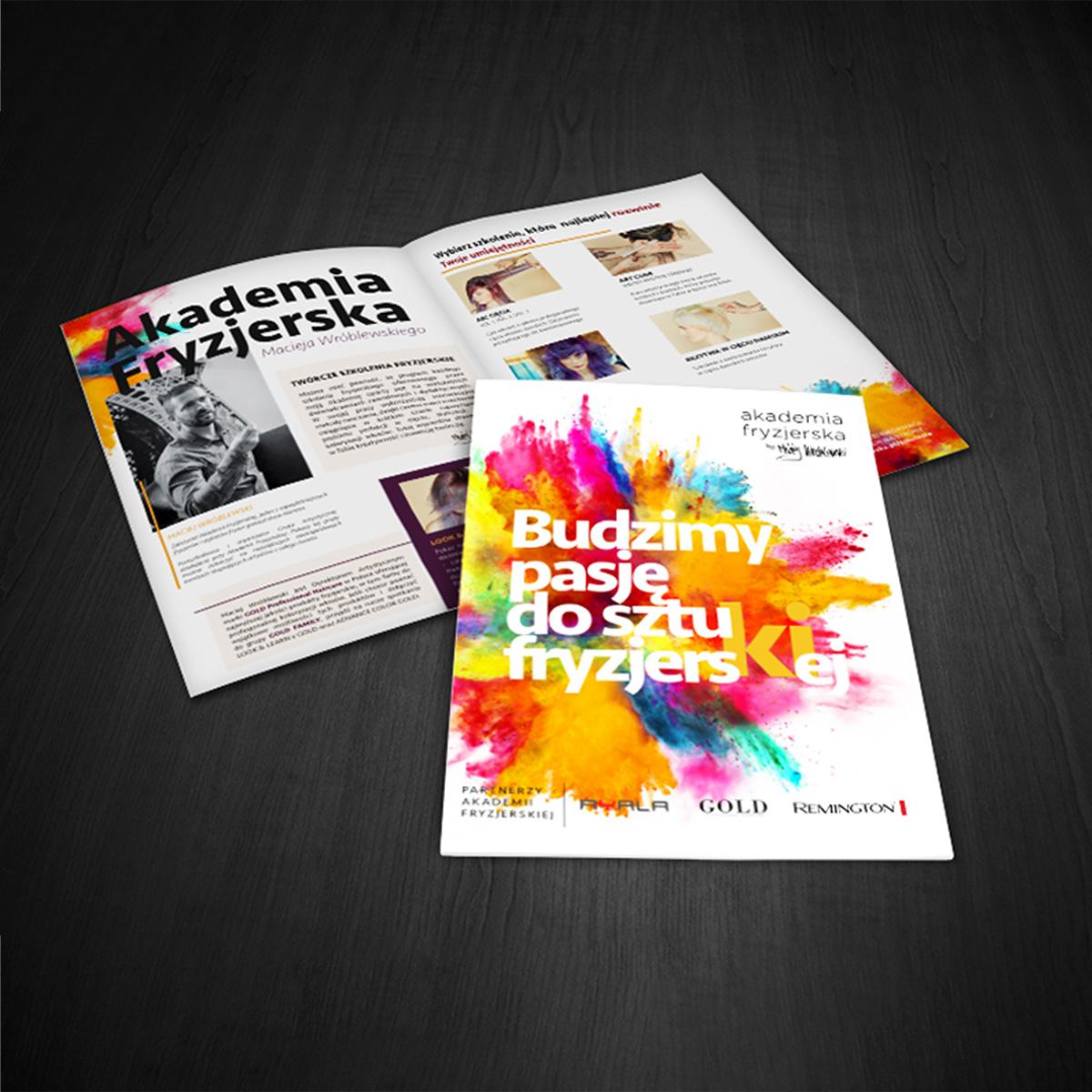 broszura reklamowa akademii fryzjerskiej